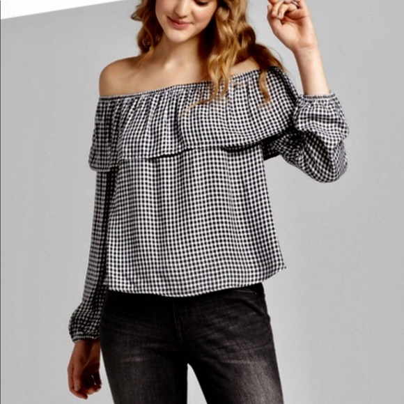 013183f164d95a Mossimo Supply Co. Tops | New Gingham Print Black And White Off ...